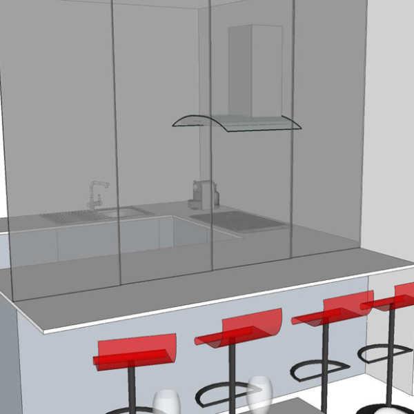 studio di interni, dettaglio della parte in vetro a scorrere di divisione tra la zona pranzo e la cucina