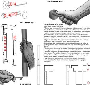 Immagine tavola del concorso una maniglia per Colombo. Tipologie di presa ed elementi costruttivi.