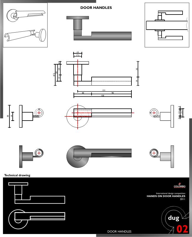 Progetto per il concorso per una maniglia per Colombo Hands on door handles