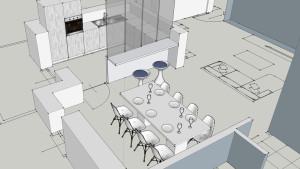 vista tridimensionale del progetto di interni per una residenza privata