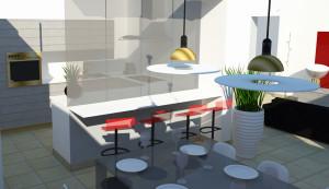 simulazione tridimensionale della vista dalla zona pranzo alla cucina