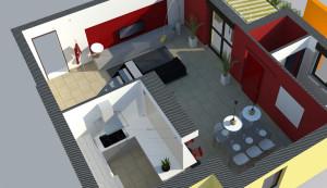simulazione tridimensionale dell'intervento previsto nella residenza privata a Nichelino