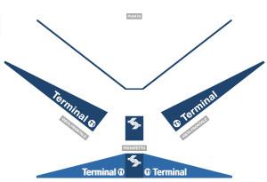 Progetto di visual identity dell'aereporto Valerio Catullo di Verona Villafranca struttura per l'identificazione degli ingressi al terminal