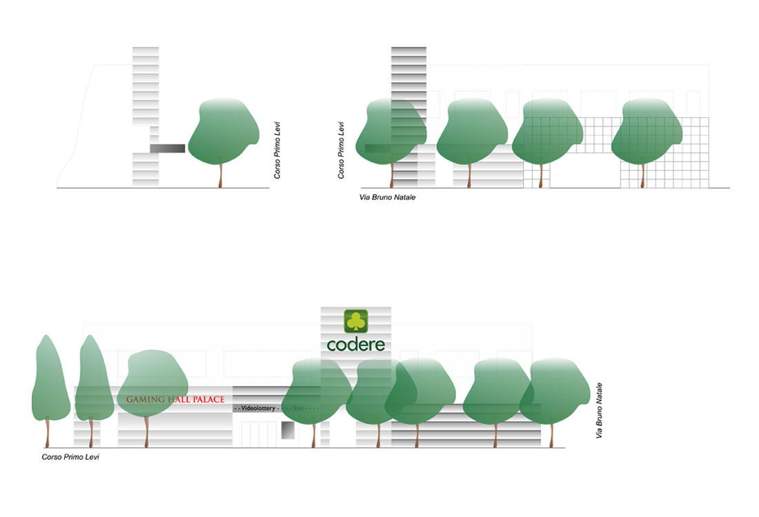 Studio architettonico dei fronti della sede del Bingo di Codere a Rivoli