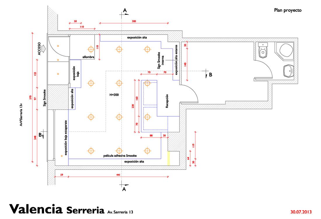 progetto architettonico per l'organizzazione degli spazi dello store smooke a Valencia