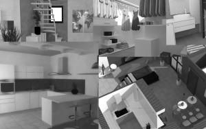 Simulazioni dell'intervento di arredamento di interni Nichelino cucina cabina armadio soggiorno ingresso bagno