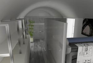 Asti. Proposta di studio di interni. Progetto architettonico dei nuovi uffici per l'impresa edile La Fenice, ufficio tecnico