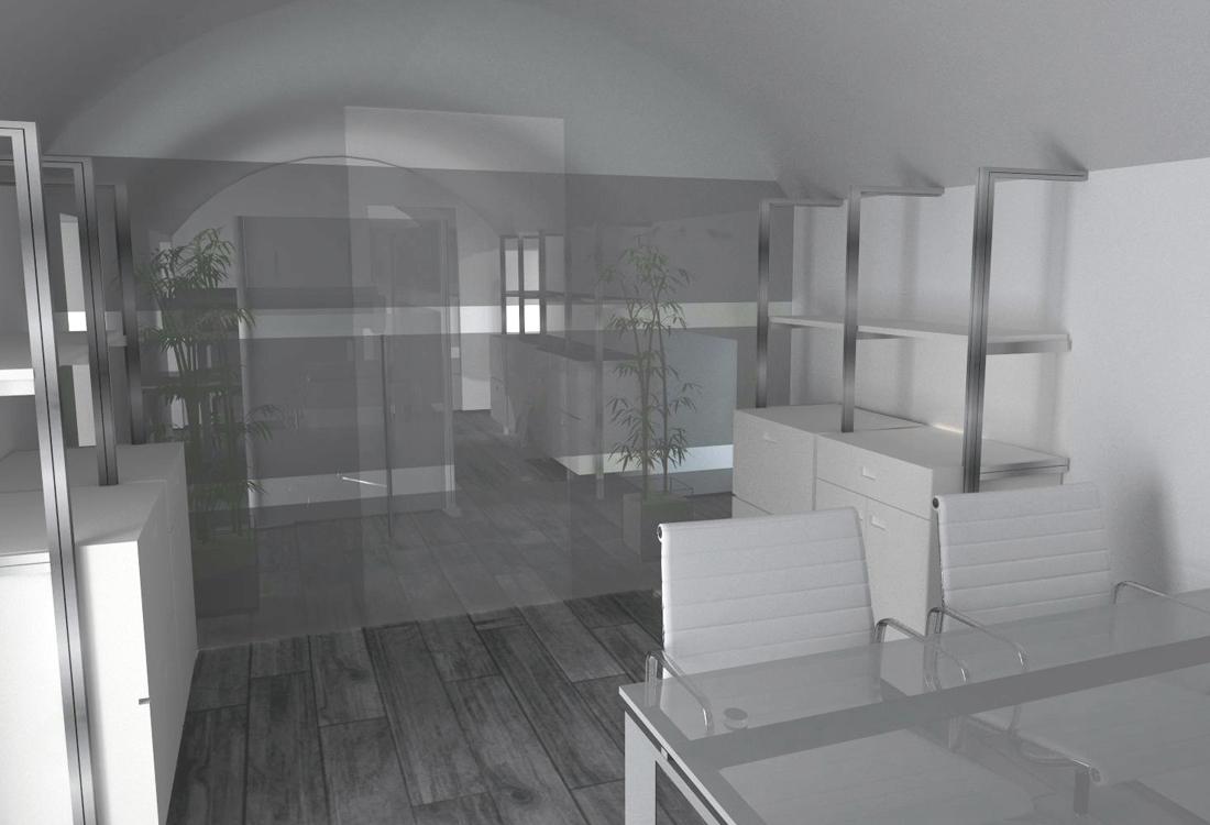Asti. Proposta di studio di interni. Progetto architettonico dei nuovi uffici per l'impresa edile La Fenice, ufficio acquisti