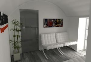 Asti. Proposta di studio di interni. Progetto architettonico dei nuovi uffici per l'impresa edile La Fenice, sala di attesa