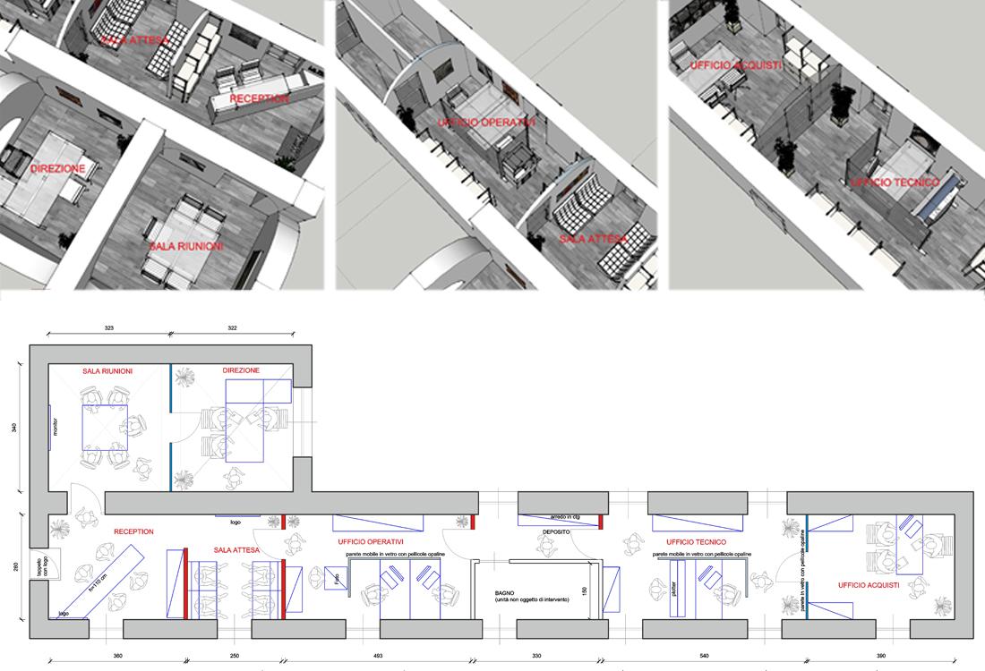 Asti. Proposta di studio di interni. Progetto architettonico dei nuovi uffici per l'impresa edile La Fenice.