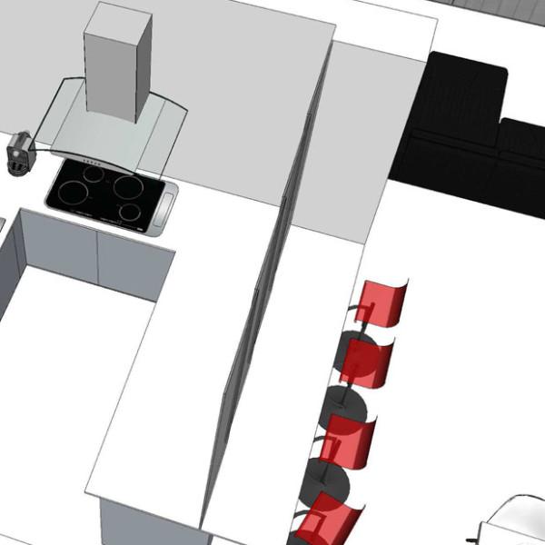 studio di interni vista aerea della cucina
