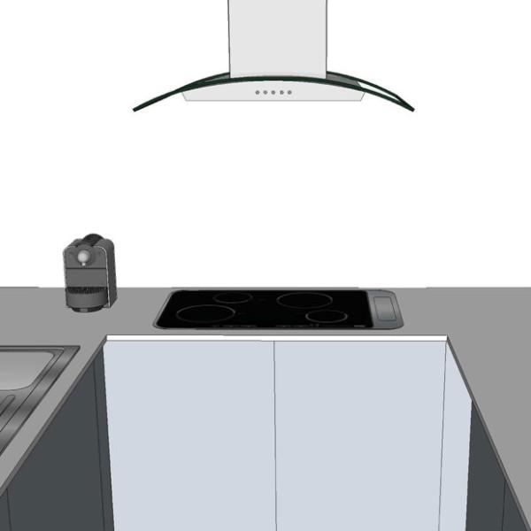 simulazione tridimensionale di un dettaglio della cucina