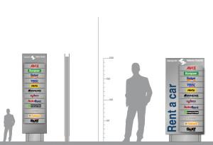 Progetto dello studio paolo padovan architetto di grugliasco di visual identity dell'aereporto Valerio Catullo di Verona Villafranca struttura totem per l'identificazione delle attività nell'edificio rent a car