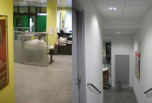 realizzazione dell'intervento di restyling della filiale di forno canavese intesa sanpaolo immagine ante operam e dell'intervento realizzato nella zona accesso agli uffici