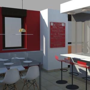 studio di interni vista tridimensionale zona pranzo e cucina