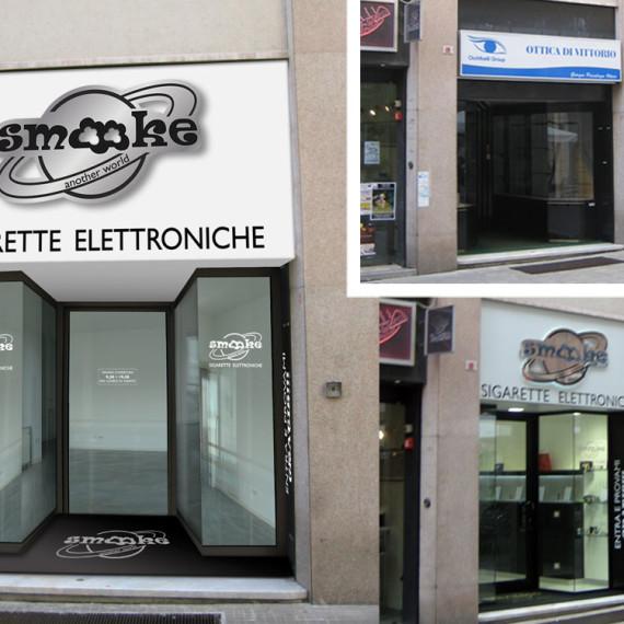 Confronto ante e post operam dell'intervento nel punto vendita smooke di Genova con l'inserimento della comunicazione pubblicitaria smooke.