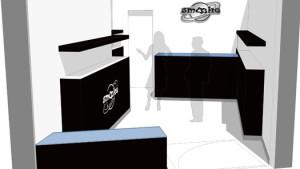 Progetto tipo dell'arredamento di interni e dell'organizzazione degli spazi dello store smooke