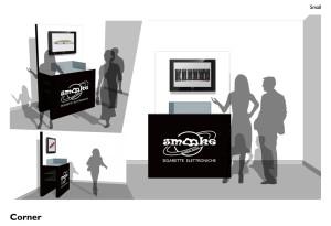 Studio di un corner da inserire negli store smooke all'estero versione small