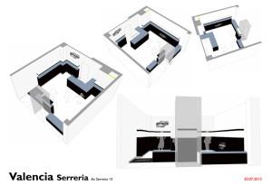 Studio tridimensionale degli interni dello store smooke a Valencia Serreira Spagna