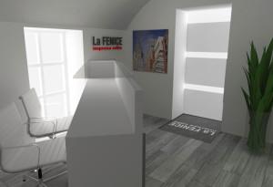 Asti. Proposta di progetto di interni. Progetto architettonico dei nuovi uffici per l'impresa edile La Fenice, Reception.